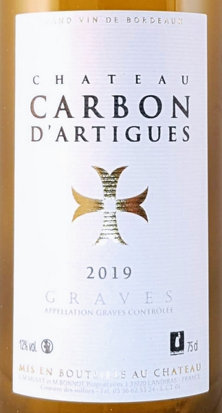 Graves wit 2019 Chateau Carbon d'Artigues